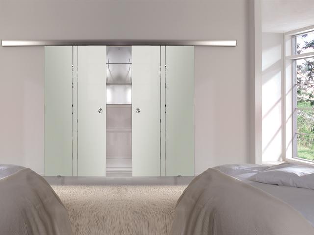 doppel glasschiebet r streifen satiniert glas schiebet r glast r design ec2t7m ebay. Black Bedroom Furniture Sets. Home Design Ideas
