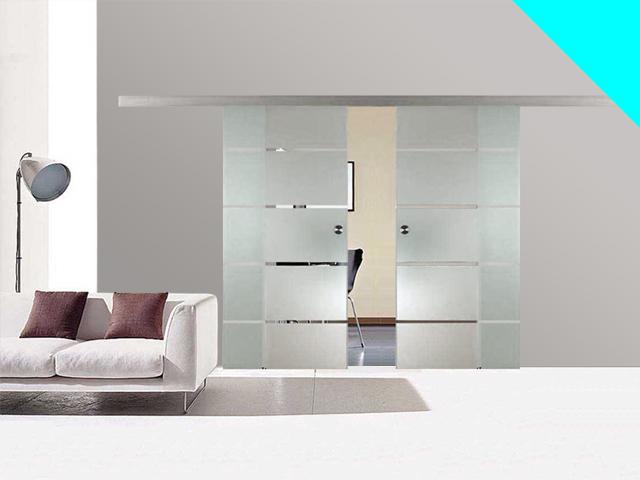glasschiebet r 2 fl gelig 775x2050mm 4 streifen design. Black Bedroom Furniture Sets. Home Design Ideas